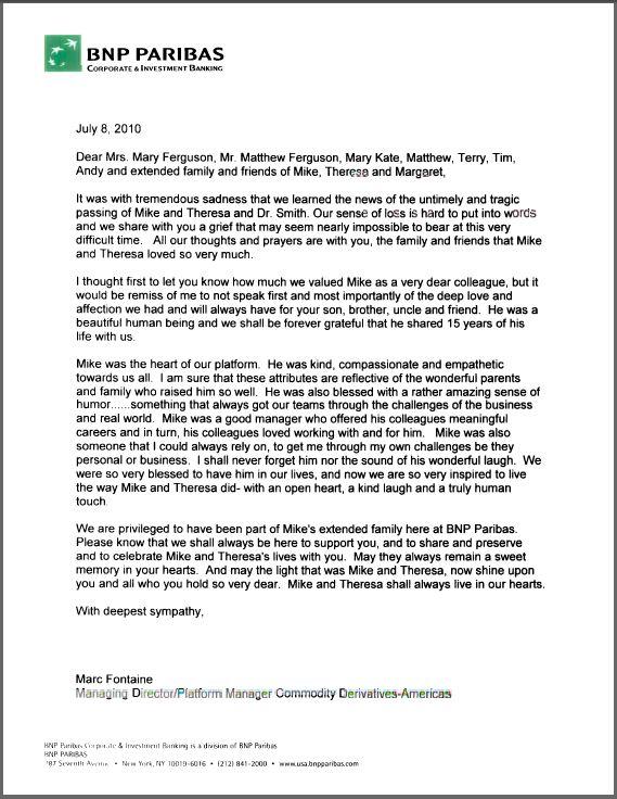 BNP Paribas Letter